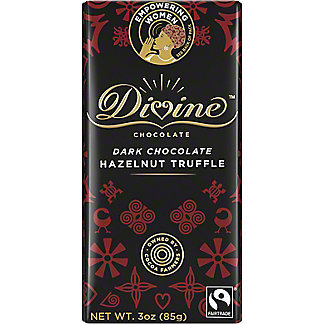 Divine Chocolate Dark Chocolate Hazelnut Truffle, 3 oz