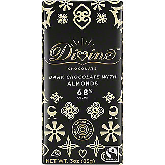 Divine Chocolate Dark Chocolate with Almonds, 3 oz