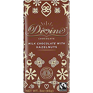 Divine Chocolate Milk Chocolate with Chopped Hazelnuts, 3 oz