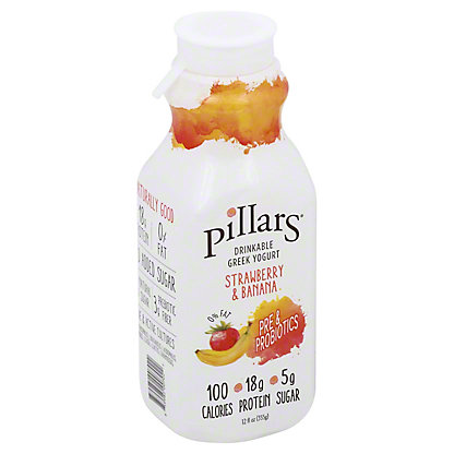 Pillars Drinkable Greek Yogurt Strawberry Banana, 12 oz