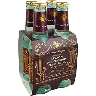 Central Market Lemon Blackberry Club Soda, Glass Bottles, 4 pk, 6.8 fl oz ea