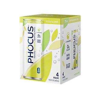 Phocus Yuzu & Lime Caffeinated Sparkling Water, 4 pk, 11.5 fl oz ea