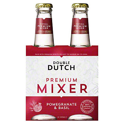 Double Dutch Pomegranate & Basil Tonic Water, glass, 4 ct, 6.76 fl oz