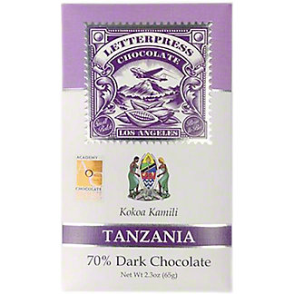 Letterpress Chocolate Tanzania, Kokoa Kamili, 70% Dark Chocolate, 2.1 oz