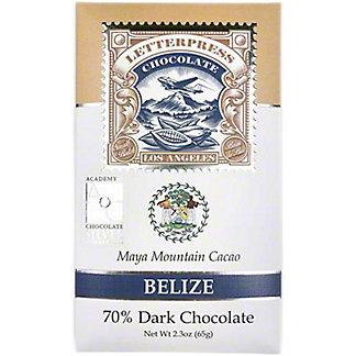 Letterpress Chocolate Belize, Maya Mountain Cacao, 70% Dark Chocolate, 2.3 oz
