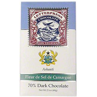 Letterpress Chocolate Fleur De Sel de Camargue Ashanti,Ghana 70% Dark Chocolate, 2.1 oz