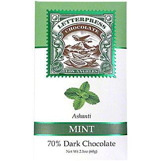 Letterpress Chocolate Mint Ashanti 70% Dark Chocolate, 2.1 oz