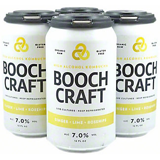Boochcraft Ginger High Alcohol Kombucha, Cans, 4 pk, 12 fl oz ea