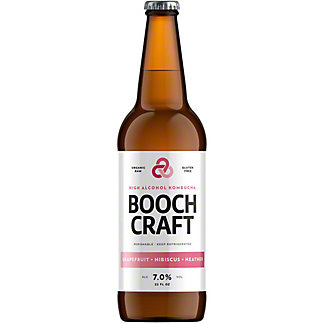 Boochcraft Grapefruit High Alcohol Kombucha, Bottle, 22 fl oz