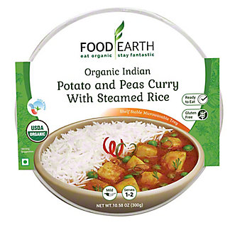 Food Earth Potato And Peas Curry With Steamed Rice, 10.58 oz