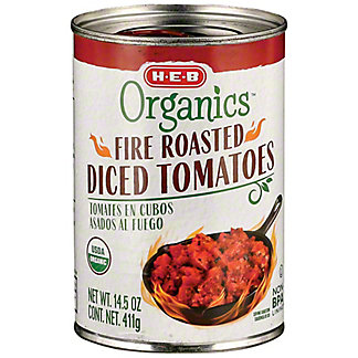 H-E-B Organics Fire Roasted Diced Tomatoes, 14.5 oz
