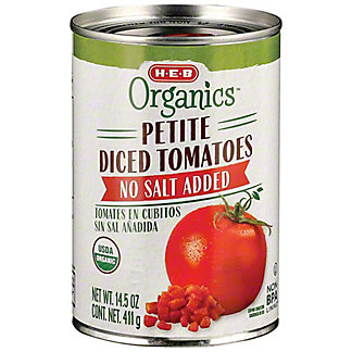 H-E-B Organics No Salt Added Petite Diced Tomatoes, 14.5 oz