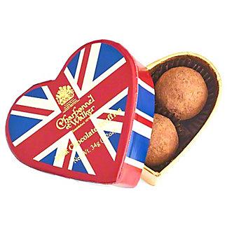 Charbonnel et Walker Union Flag Heart Box Sea Salt & Caramel Chocolate Truffles, 1.25 oz
