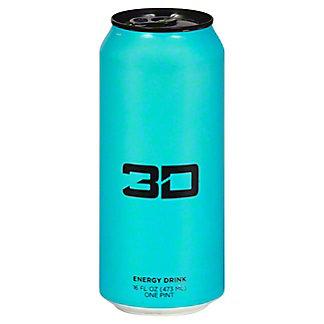 3D Berry Blue Energy Drink, 16 oz