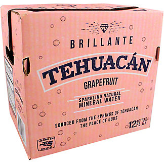 Tehuacan Grapefruit Sparkling Mineral Water, Glass Bottle, 12 pk. 12 fl oz ea