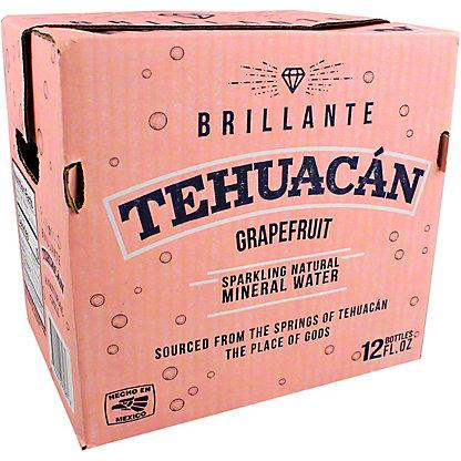 Tehuacan Grapefruit Sparkling Mineral Water, Glass Bottle, 12 pk. 12 fl oz ea
