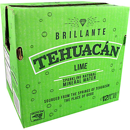 Tehuacan Lime Sparkling Mineral Water, Glass Bottle , 12 pk, 12 fl oz ea