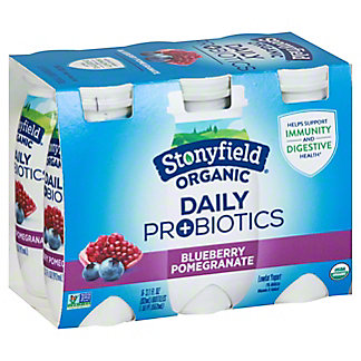 Stonyfield Organic Daily Probiotics Low Fat Blueberry Pomegranate Shots, 6 pk