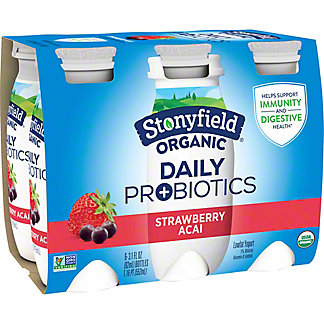 Stonyfield Organic Daily Probiotics Strawberry Acai Low-Fat Yogurt Drink 3.1 oz Bottles, 6 pk