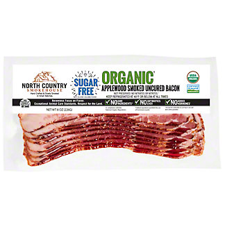 North Country Smokehouse Organic Applewood Smoked Sugar Free Uncured Bacon, 8 oz