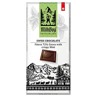 Milk Boy 72% Swiss Dark Chocolate Crispy Mint, 3.5 oz