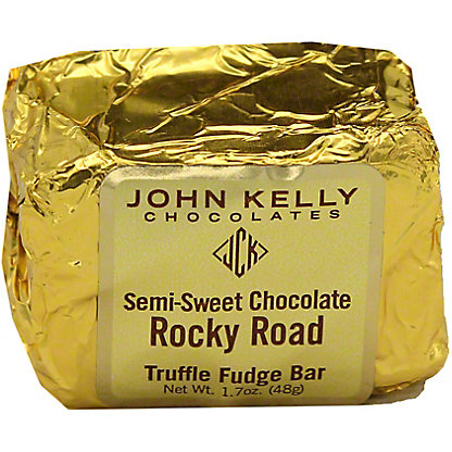 John Kelly Chocolates Semi Sweet Chocolate Rocky Road Truffle Fudge Bar, 1.7 oz
