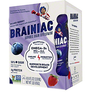 Brainiac Kids Mixed Berry Yogurt Drink, 4 pk, 4 fl oz ea