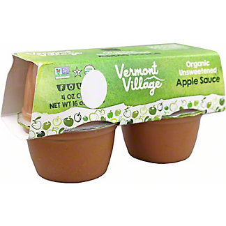 Vermont Village Organic Unsweetened Apple Sauce, 4 pk, 4 oz ea
