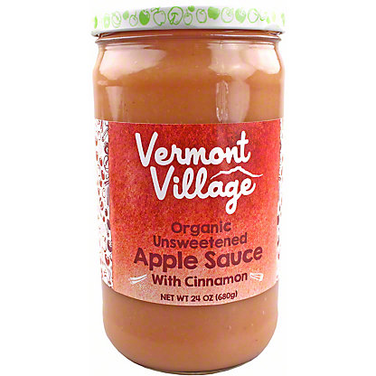 Vermont Village Organic Unsweetened Apple Sauce with Cinnamon, 24 oz
