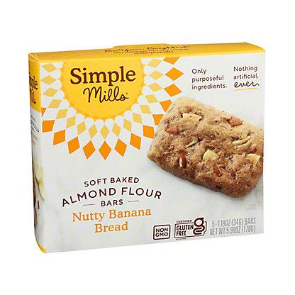 Simple Mills Soft Baked Nutty Banana Bread Almond Flour Bars, 5 pk, 1.19 oz ea