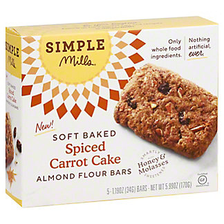 Simple Mills Soft Baked Spiced Carrot Cake Almond Flour Bars, 5 pk, 1.19 oz ea