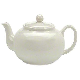 RSVP International White Stoneware Teapot, 42 oz