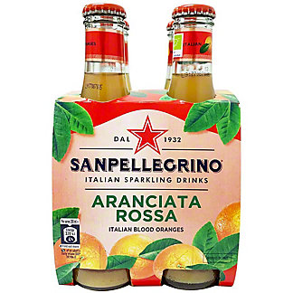 Sanpellegrino Organic Italian Sparkling Soda Aranciata Rossa, 4 pk Glass Bottles, 6.75 fl oz ea