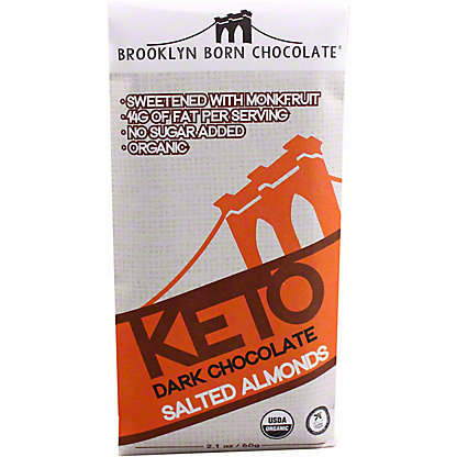 Brooklyn Born Chocolate Salted Almonds Keto Dark Chocolate Bar, 2.1 oz