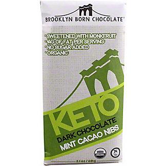 Brooklyn Born Chocolate Mint Cacao Nibs Keto Dark Chocolate Bar, 2.1 oz