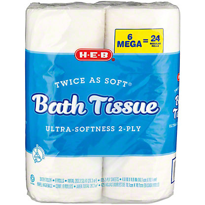 H-E-B Twice As Soft Bath Tissue 2 Ply, 6 ct