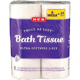 H-E-B Twice As Soft Bath Tissue 3 Ply, 6 ct