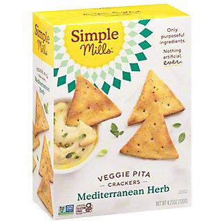 Simple Mills Veggie Pita Crackers Mediterranean Herb, 4.25 oz