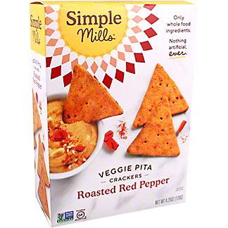 Simple Mills Veggie Pita Crackers Roasted Red Pepper, 4.25 oz