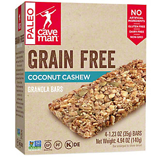 Caveman Grain Free Coconut Cashew Granola Bars, 4 pk