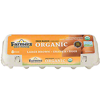Farmers Hen House Eggs Large Brown Organic, 12 ct