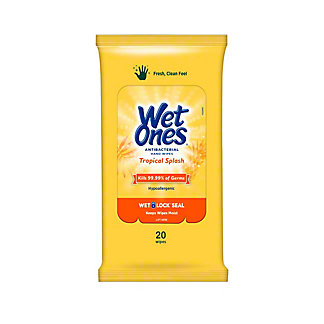 Wet Ones Tropical Splash Antibacterial Wipes, 20 ct