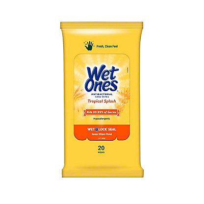 Wet Ones Tropical Splash Antibacterial Wipes, 20 ct