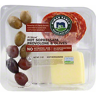 Niman Ranch Sopressata (hot), Provolone and Olives Snack Pack, 3 oz