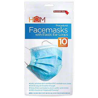 Homworks Blue & White Procedural Face Mask Ear Loops, 10 ct