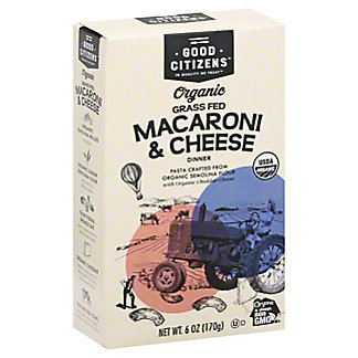 Good Citizens Organic Grass Fed Macaroni & Cheese Dinner, 6 oz