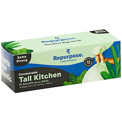 Repurpose Compostable Extra Strong Tall Kitchen Bags, 12 ct, 13 gal ea