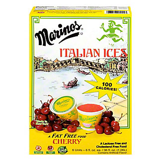 Marinos Cherry Italian Ice, 6 fl oz ea