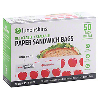 Lunchskins Recyclable & Sealable Paper Sandwich Bags, 50 ct