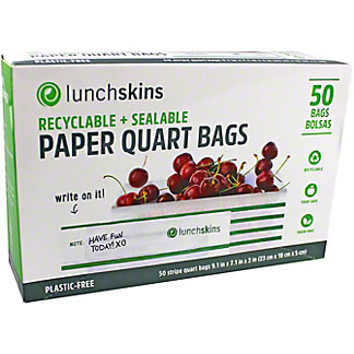 Lunchskins Recyclable & SealablePaper Quart Bags, 50 ct